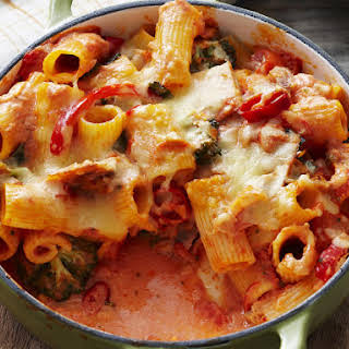 Baked Rigatoni with Tuna and Peppers.