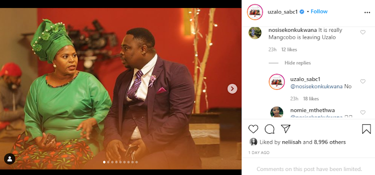 A screenshot of Uzalo's Instagram page.