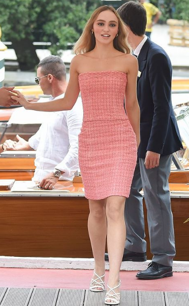 Lily Rose Depp in pink
