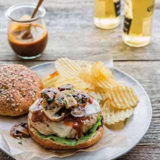 Chicken Burgers with Bourbon Barbecue Sauce and Mushrooms.