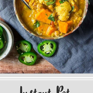 Favorite Curried Red Lentil & Chickpea Stew with Cauliflower & Sweet Potato.