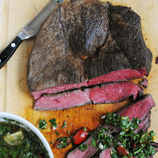 Sirloin Tip Roast with Parsley and Tomato Chimichurri.
