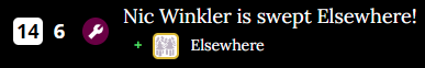 An image of text showing Nic Winkler being swept elsewhere on Day 6.