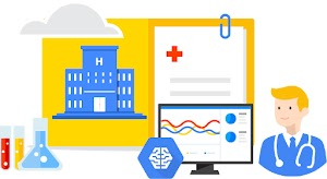 Collage image with beakers and test tubes, hospital, cloud, medical chart, monitor displaying data in graphs, man with stethoscope, and Google AI/ML icon
