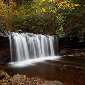 Oneida Falls in Autumn by Tim Devine - Landscapes Waterscapes ( falls trail, stream, luzerne county, kitchen creek, waterfall, pennsylvania, endless mountains, ricketts glen, oneida falls, autumn, appalachian mountains, ricketts glen state park, ganoga glen )
