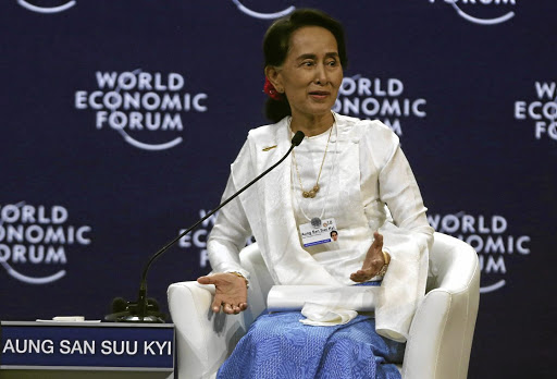 Myanmar's state counselor, Aung San Suu Kyi, speaks at the World Economic Forum on Asean at the National Convention Center in Hanoi, Vietnam, on September 13 2018. Picture: REUTERS/KHAM