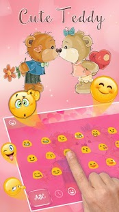 Cuteness Teddy Bear Kiss Keyboard Theme - náhled