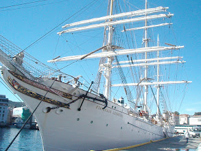 Photo: Back on the wharf, the Royal Navy schooner was docked.