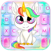 Smiley Rainbow Unicorn Keyboard Theme