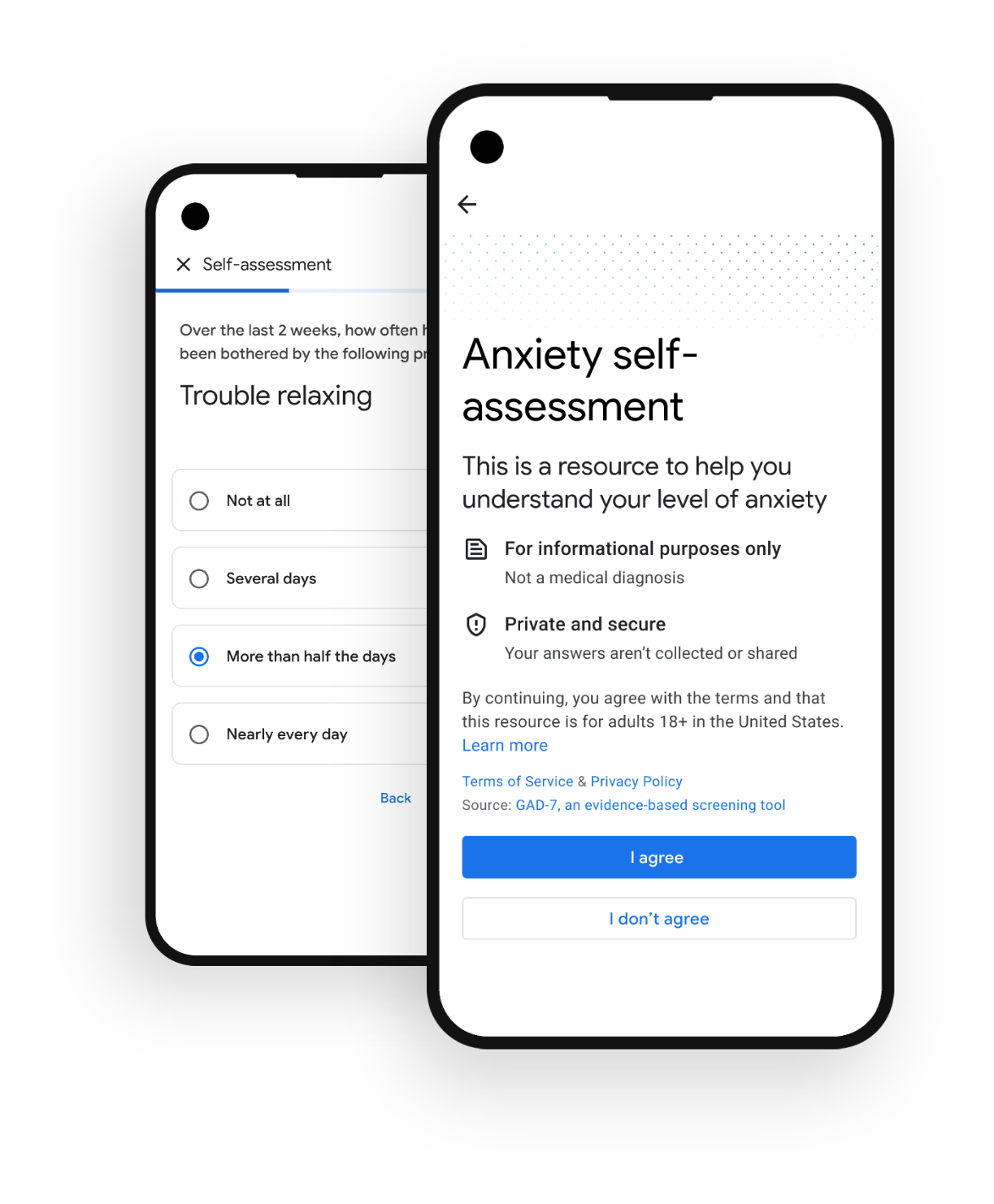 Graphic of phones with self-assessment example