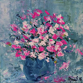 Pink flowers by Amas Art - Painting All Painting ( bouquet, white, pink, flowers, painting, oil )