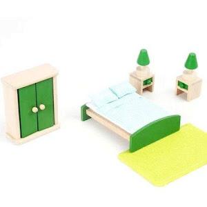 Mobilier dormitor pentru casuta papusilor, material lemn, Onshine
