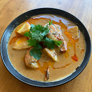 Sour Red Curry of Jumbo Prawn with Tamarind and Pineapple