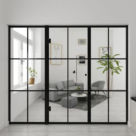 Industrivägg Dörr + 2 väggar svart
