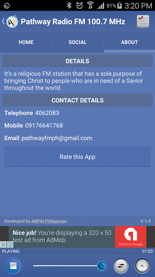 Pathway Radio FM 100.7 MHz- screenshot