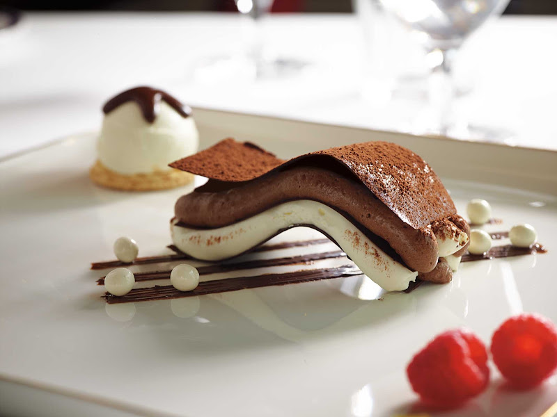 The Wave, a chocolate-vanilla specialty dessert at Pinnacle Grill on your Holland America sailing.