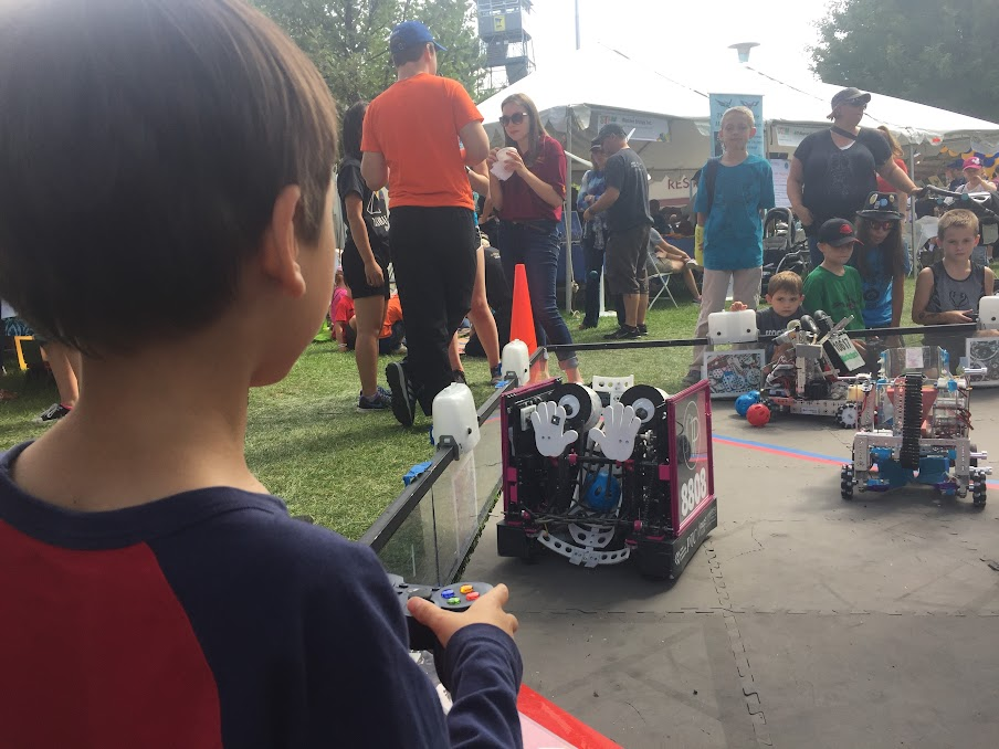 Visitor driving the robot