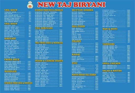 New Taj Biriyani menu 1