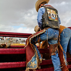 Bull Rider 141 by Jim Moon - People Portraits of Men ( bull rider, cowboy, cowboy hat, whisper river photography, rodeo, jim moon, men, chaps, bull, man,  )