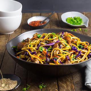 Stir-Fried Lo Mein Noodles With Pork and Vegetables.