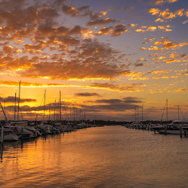 Golden Sky by Keith Walmsley - Transportation Boats ( victoria, coast, yachts, reflection, sunset, australia, clouds, water, landscape )