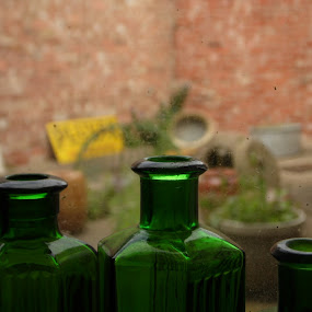 Three Bottles by Ryan Beasant - Artistic Objects Antiques ( macro, three, bottles, close up, antiques )