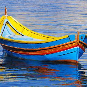 Maltese Fishing Boat Malta Boat Luzzu Maltese Islands  by James Morris - Transportation Boats ( luzzu, blue, malta, fishing boat, boat, maltese, sea )