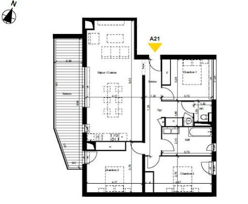 Vente appartement 4 pièces 99,72 m2