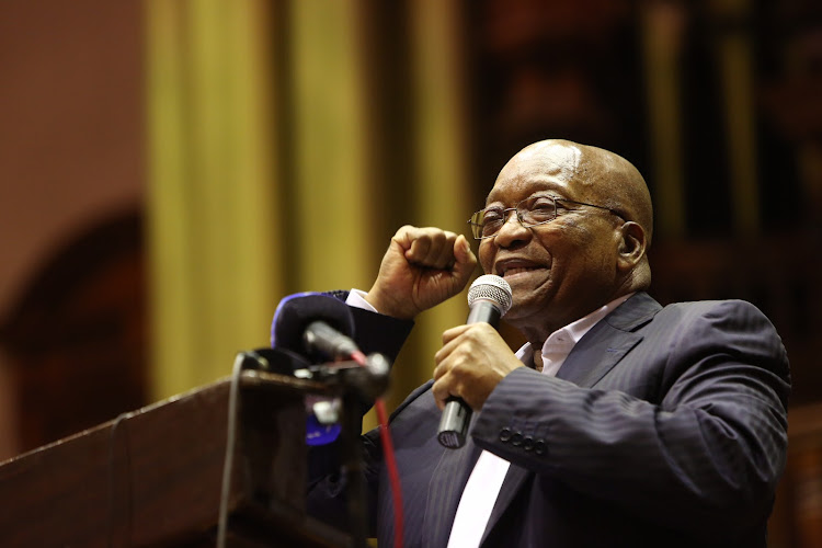 Former president Jacob Zuma addresses a Cosas briefing on free education at the Durban city hall on June 6, 2018.