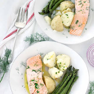 Perfect Poached Salmon with Chive Butter.