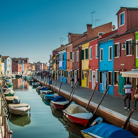 by Mario Horvat - City,  Street & Park  Street Scenes ( touristic, italia, boats, burano, architecture, travel, canal, italy )