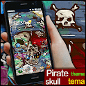 pirate skull graffiti theme icon