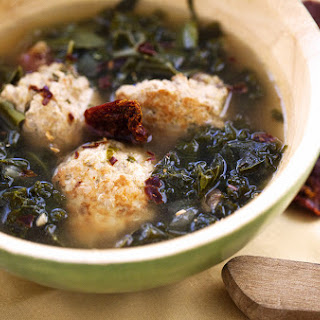 Kale and Chard Soup with Chicken and Quinoa Meatballs.