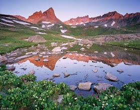 Photo: Sunrise reflection in Ice Lakes Basin - July.
