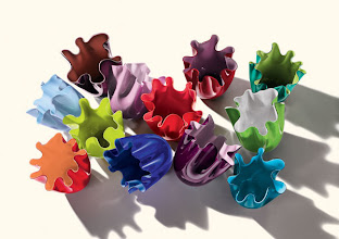 """Photo: VENINI Mouth-blown glass """"Fazzoletti"""" vases. Available in 12 limited-edition colors and 2 sizes. 4.7"""" high. $350–$380. 7.8"""" high. $750–$780. Italy. Seventh Floor. 212 872 2686"""