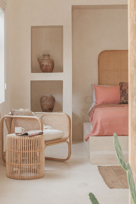 rattan table and chair in bedroom