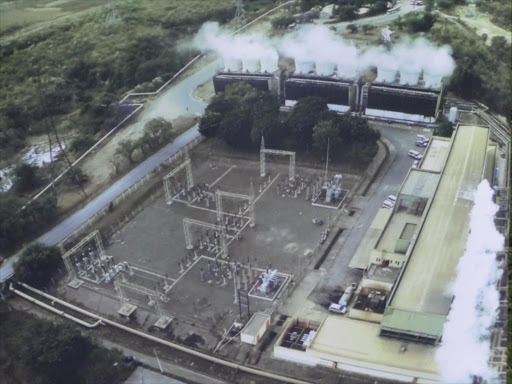 An aerial view of Olkaria geothermal plant. COURTESY