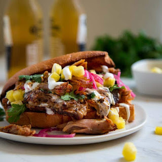 Smoked Pulled Pork Sandwich with Pineapple.