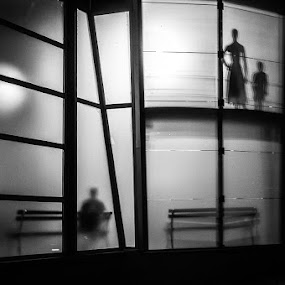 Shadowland by Rafael Kos - City,  Street & Park  Street Scenes ( shop, person, silhuette, shadow, night )