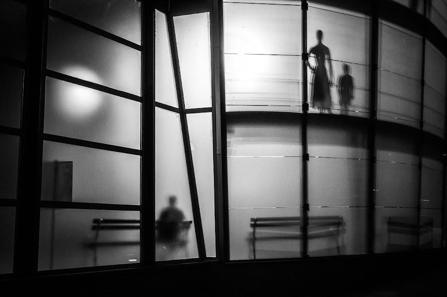 Shadowland by Rafael Kos - City,  Street & Park  Street Scenes ( shop, person, silhuette, shadow, night )