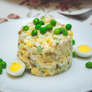 Olivier Salad with Quail Eggs