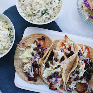 Fish Tacos with Cabbage Slaw and Cilantro-Lime Cauliflower Rice.