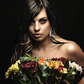 Flowers by Gerrit Toit - People Portraits of Women ( model, dark, flowers, hair, skin )