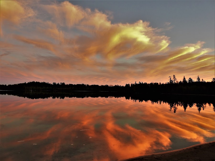 Lake of the Clouds by Kathy Woods Booth - Landscapes Cloud Formations ( cloud formations, clouds, michigan, waterscape, sunset, reflections )
