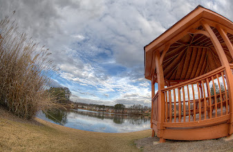 "Photo: One more shot from ""HDR Essentials Pack"". I've selected to compose a shot with this crazy angle to show when HDR technique works the best. Without that gazebo celling, HDR might not be needed in such cloudy day. BTW, this was a hand-held shot with fisheye lens, my favorite for now:-)  http://www.photigy.com/hdr-photography-essentials-pack/"