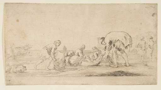 A fisherman bringing in his nets, a man at left pushing a bale to the right, two seated figures mending nets, and two figures at right seen from the back