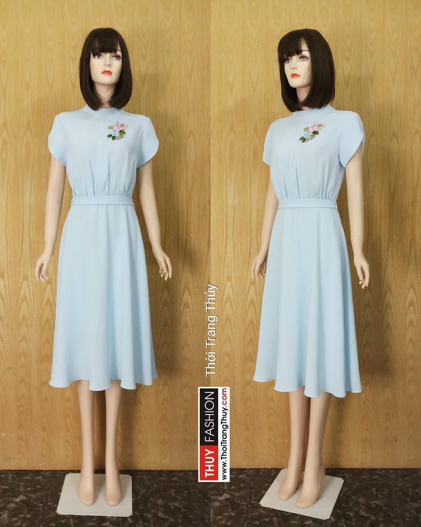 Váy xòe midi tay sẻ cổ kiềng đính hoa V608 tại Hải Phòng