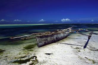 Photo: Ne vous y fiez pas, mes photos sont soigneusement filtrées. Approchez-vous de ce bateau, et un individu va immédiatement vous proposer un tour avec. Ou alors de vous faire visiter la lagune : étoiles de mers, éponges... Bref, pas moyen de se balader seul t