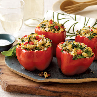 Stuffed Peppers with Thai Curry Rice and Mushrooms.