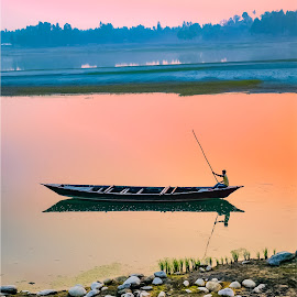 sunset by Mamunur Rashid - Transportation Boats ( sunset, river, sun, water, boat )